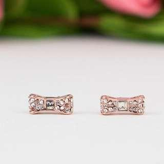 Kate Spade New York Ready Set Pave Bow Stud Earrings in Rose Gold (LAST INSTOCK)