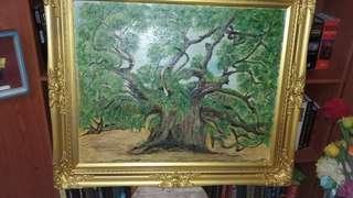 Oil portait of famous oak tree