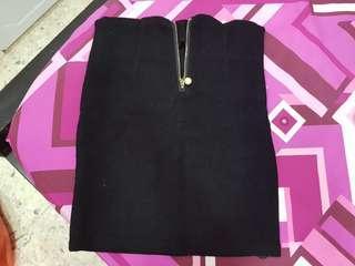 Black sexy bottom zipped skirt