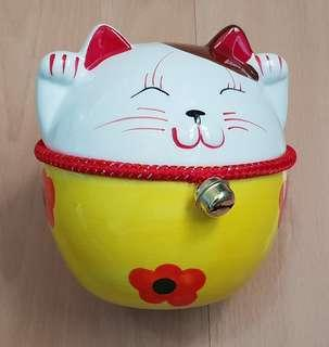 New Fat Yellow Fortune Cat Coin Bank
