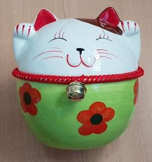 New Fat Green Fortune Cat Coin Bank