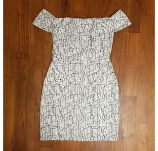 Love Bonito Oalie Printed Off Shoulder Dress