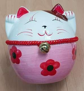 New Fat Pink Fortune Cat Coin Bank