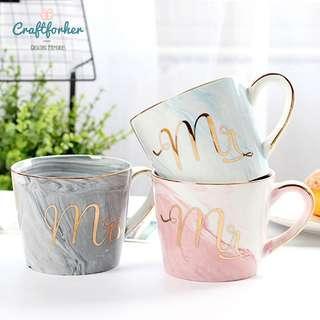 🚚 Mr & Mrs Mug/Cup Porcelain Marble for Bride, Groom, Wedding or Home