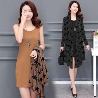 🚚 (FA1500)大碼裝中長款外套+背心裙 兩件套(兩色)