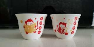 Chinese zodiac Monkey year collectible cups (xin ming newspaper wan bao astrological sign horoscope CNY new year limited edition collection dragon dog ox snake rabbit rooster horse tiger goat pig rat)