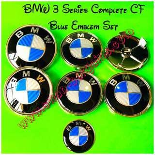 7pcs Set BMW 3 Series Blue CF Carbon Fiber Design Logo Emblem Badge Factory Original Size Bonnet Trunk  Sports Wheel Rim Center Hub Cap Cover Stock Rims Steering Wheel Logo Emblem E46 E90 E91 E92 E93 F30 F31 F34