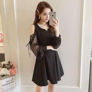 🚚 (FA1499)大碼裝露肩連衣裙(黑色)