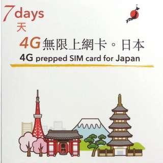 日本 漫遊 SIM Card 數據卡 7天 無限上網 Softbank 網絡