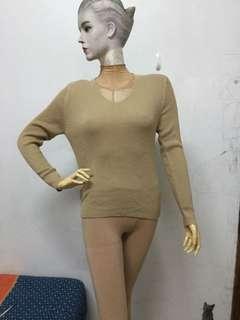 🚚 全新SOFEY品牌F號奶茶色條紋長袖上衣