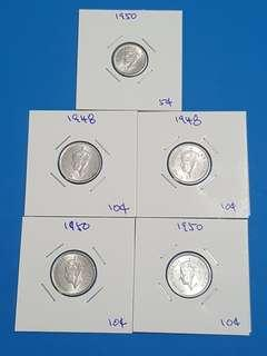 LOT OF 5 PCS MALAYA KGVI COINS..
