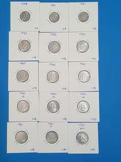 LOT OF 15 MALAYA QEII COINS, GOOD GRADES