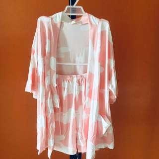 Japanese Style Kimono 3 pc Set Pink Blue Gray
