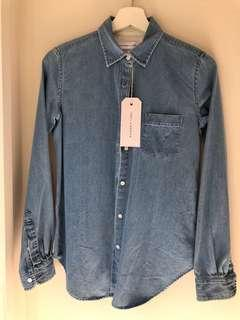 Assembly Label denim button up top