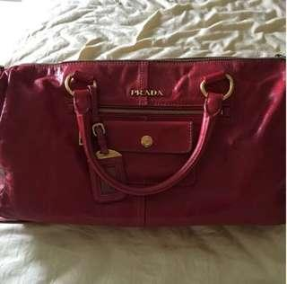 Prada Red Vitello Shine Rosso with Sling
