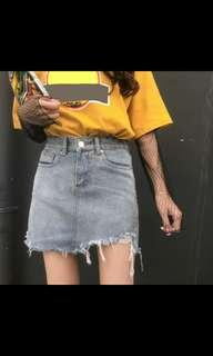 (NO INSTOCKS!)Preorder korean uzzlang ladies High Waist Denim Skirt* waiting time 15 days after payment is made * chat to buy to order