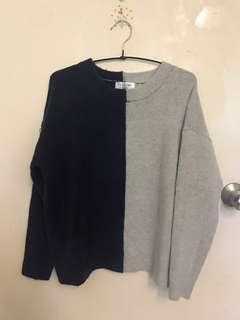 藍灰拼色滑身毛衣