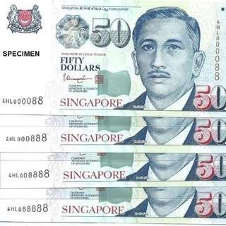 LHL $50 25 Golden Numbers Singapore Portrait