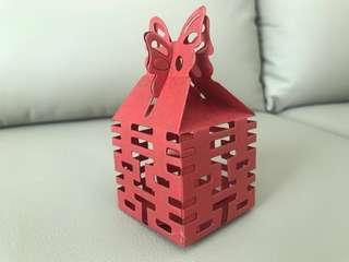 婚禮小禮物喜字通花包裝盒約100個。可自己放入小糖果金莎朱古力結婚$190