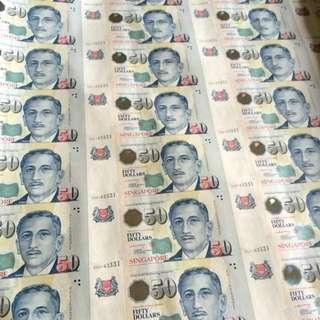 LHL $50 Uncut 100 Sheets Only Singapore Portrait