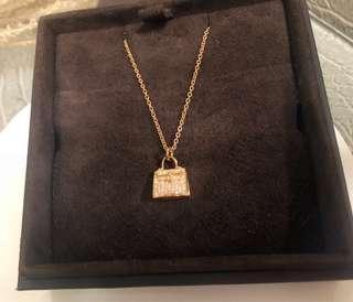 🚚 Hermes 全新玫瑰金Kelly鑽石項鍊