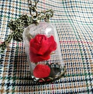 Beauty and the Beast inspired dried rose necklace - On Hand (Valentine's gift idea)