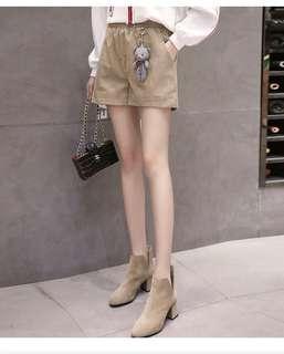 🚚 (FA1502)高腰燈芯絨闊腿短褲(三色)