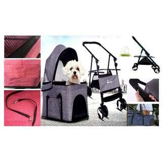 4 Wheel 3-In-1 Detachable Pet Carrier & Stroller