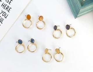 Korean Marble Minimalistic Earrings