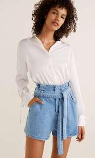 denim highwaist paperbag shorts
