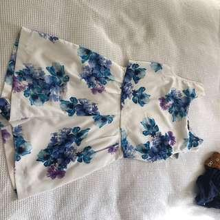 White floral playsuit size 8