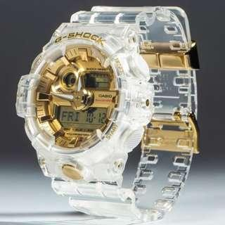 Limited Edition Casio Gshock Glacier Gold GA735E Clear Transparent Gold Unisex Watch 35th Anniversary with FREE DELIVERY Unisex