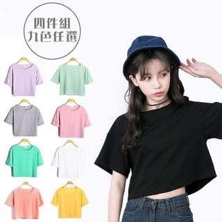 🚚 韓版寬鬆露肚臍短版T恤