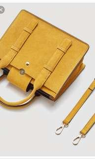 Yellow Double Strap Leather Hand Bag