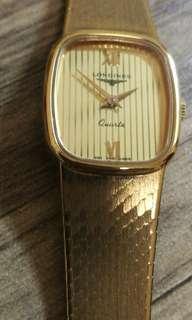 浪琴石英銀包金女装表