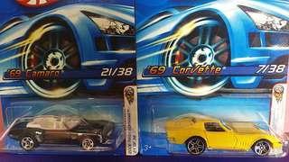 Hotwheels corvette and camaro 69