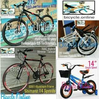 MTB / City / Road Bikes from $129(Adult)  and Kids Bikes from $89. All Brand New Bicycles.