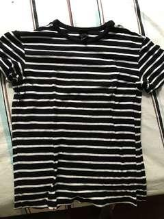 H&M black white ringer tee TOP t shirt