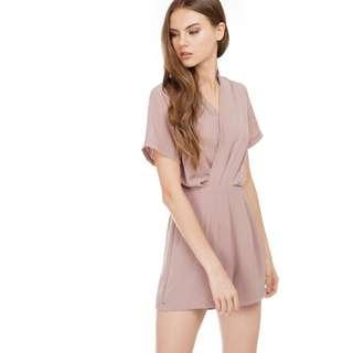 tcl poline romper playsuit in blush pink mauve taupe