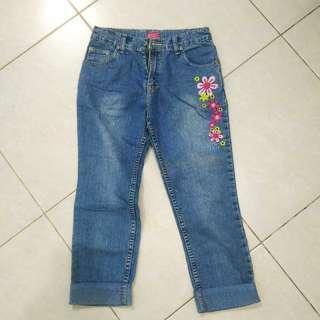 Celana Panjang Jeans Anak Perempuan 7/8 Denim Biru Bunga Bekas Second Murah