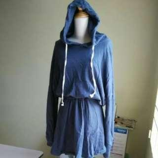 Korean Style denim Blue Hoodie Dress