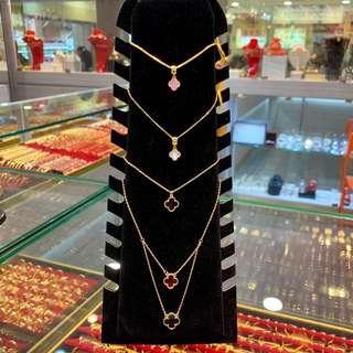 916 gold clover pendants