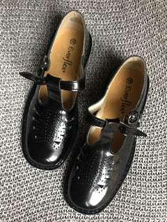 glossy t bar school shoes