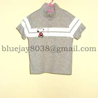 Boys Polo Shirt Short Sleeve PEANUTS SNOOPY 1 year to 3 years 100 percent Cotton -- 00283