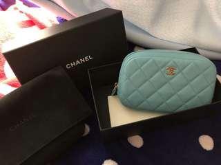 Chanel 散子包 化妝袋 Tiffany blue