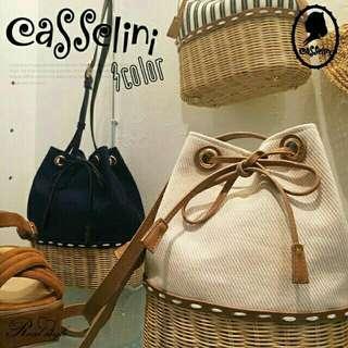 🚚 日本Casselini藤編牛仔色抽繩水桶包/側背包/斜背包
