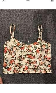 Ladies floral flower spaghetti strap valleygirl crop top size 6 8 Xs s
