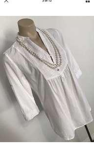 Ladies white beach tunic 3/4 sleeve shirt top size 10 m