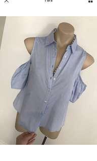 Ladies tempt off shoulder button top blouse size 8 10 s m