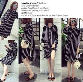 WST 24594 Black Stripe Shirt Dress
